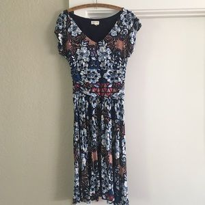 Anthropologie Fitted Print Dress, Size XS